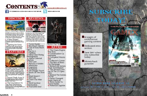 game magazine layout contents page and subscription page layout plans 4