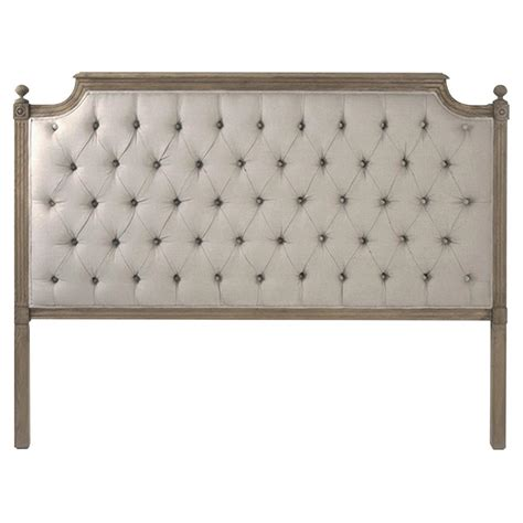 Tufted Linen Headboard louis xvi style oak linen tufted headboard