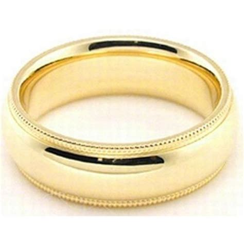18k yellow gold 6mm comfort fit milgrain wedding band