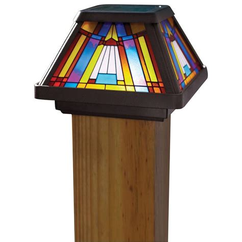 Moonrays Solar Powered Led Multi Color Outdoor Inglenook Solar Post Cap Light