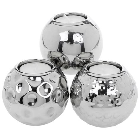 Tea Candle Holders by Set Of 3 Hammered Tea Light Candle Holders Silver Metal