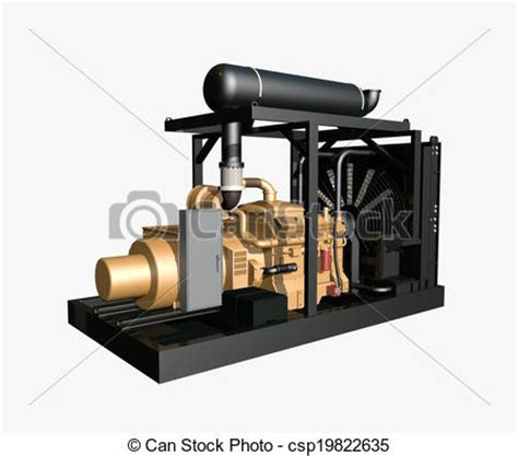 drawing generator drawings of generator isolated on white background