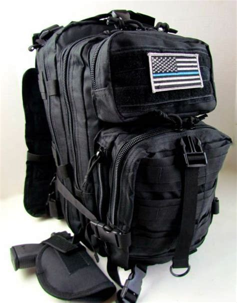 heavy duty thin blue line black tactical backpack w holster bug out bag conceal ebay