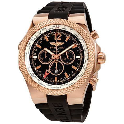 black and gold bentley breitling bentley gmt black dial chronograph 18k rose gold