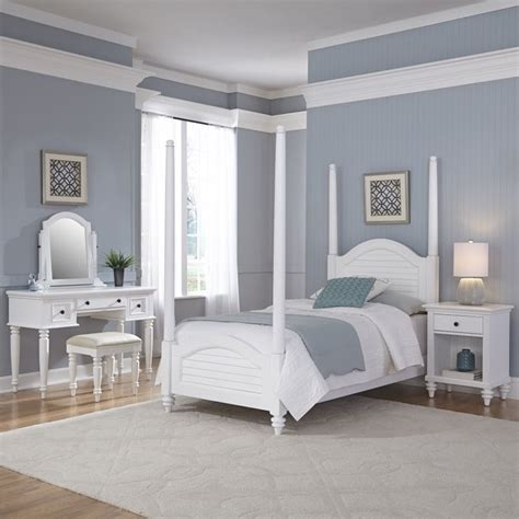 twin poster bed  piece bedroom set  white