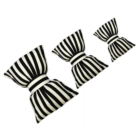 Bow Cushion Black bow pillows black and white striped neck pillow decorative
