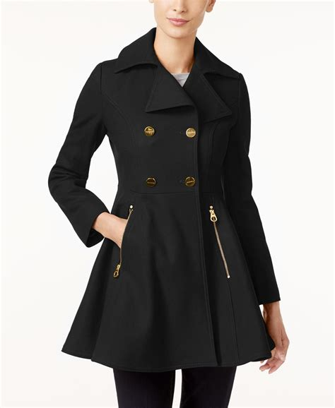 Laundry By Shelli Segal Double Breasted Skirted Swing Coat
