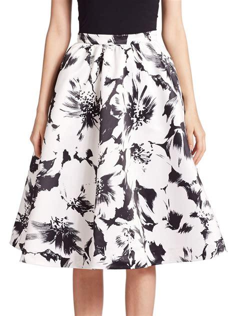 floral satin a line skirt lyst