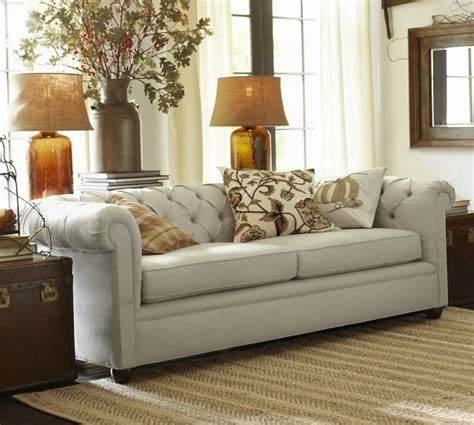 pottery barn loveseat chesterfield upholstered sofa pottery barn