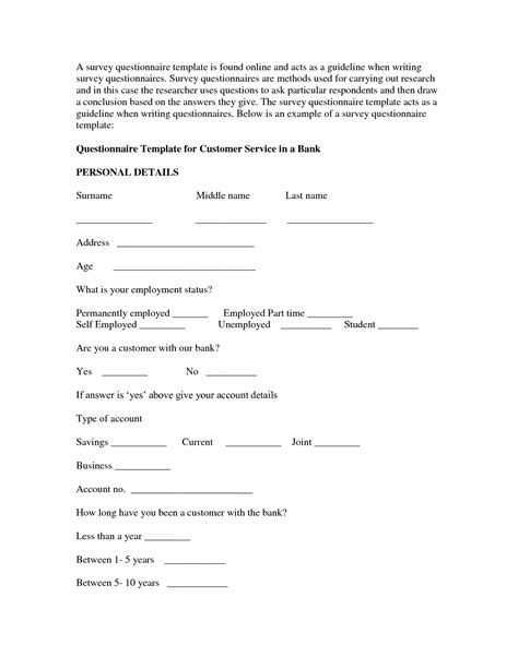 word templates for questionnaires free resume template questionnaire sle word free microsoft