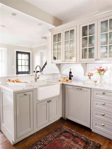 Kitchen Cabinets Sink Transitional Kitchen With Gray Cabinets And Farmhouse Sink