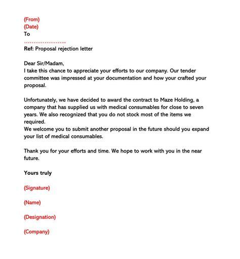 sample proposal rejection letter decline bid business
