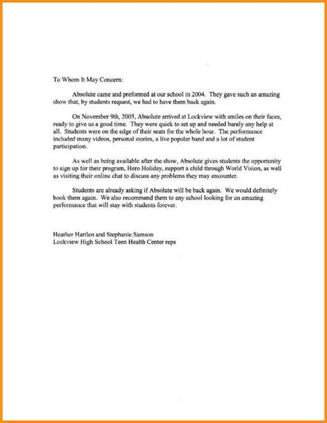 Letter Of Recommendation Sle College Program Letter Of Recommendation For High School Student 11 Scholarship Recommendation Letter For High