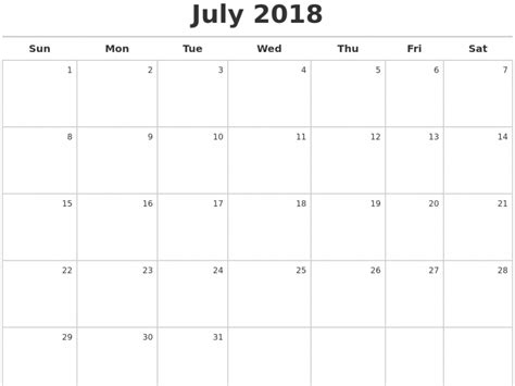 calendar template july 2018 free july 2018 calendar printable template us canada uk