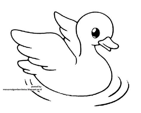 mewarnai gambar mewarnai gambar sketsa hewan bebek 1