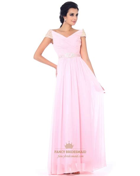 V Neck Dress Pink pale pink v neck chiffon prom dress with ruched bodice and
