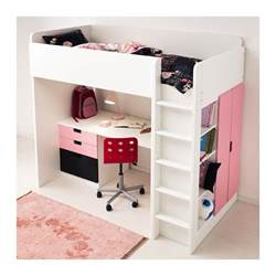 Loft bed desk combo with built in stairs clothing closet and