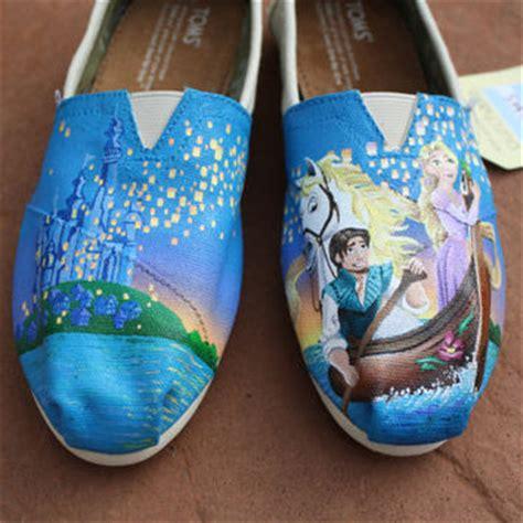 acrylic paint on canvas shoe tangled disney original custom acrylic from