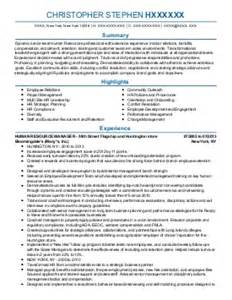 7 307 human resources resume exles sles livecareer