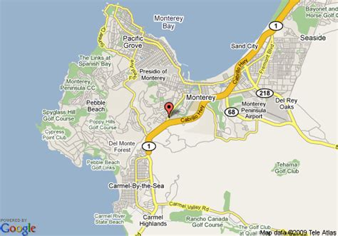 map monterey ca map of knights inn hill monterey