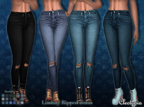 sims 4 jeans cleotopia s set49 lindsay ripped jeans