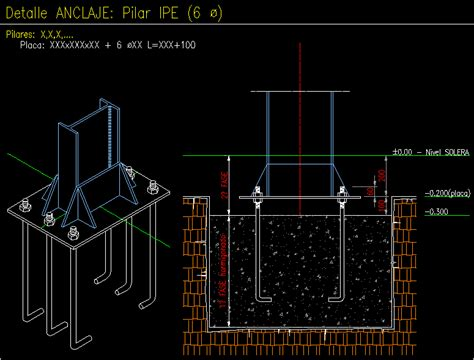 metal joinery column anchorage dwg block  autocad