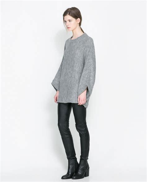 Sweater Zara Zara Poncho Sweater In Gray Lyst