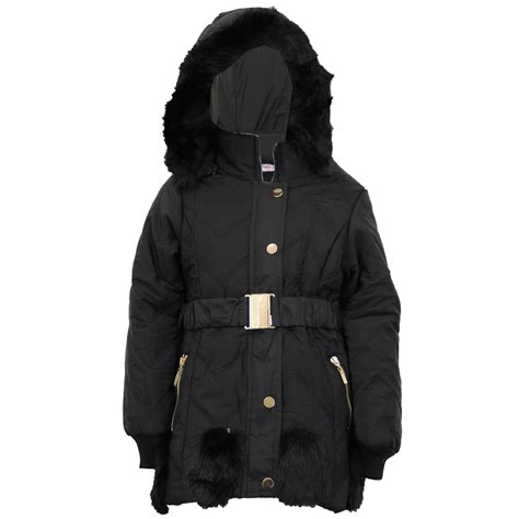 Padded Hooded Coat padded jacket coat fur hooded quilted belt