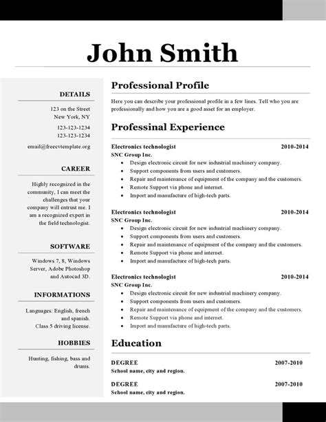 simple resume template open office modele cv simple open office cv anonyme
