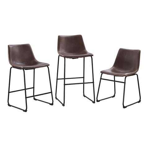 walker edison faux leather counter stools brown set of 2