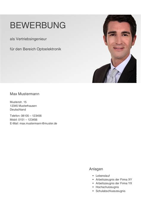 Lebenslauf Erste Bewerbung Das Deckblatt F 252 R Ihre Bewerbung Markt Technik