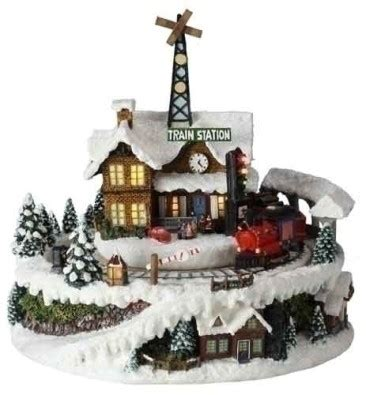 holiday memories lighted village and train music box boxes