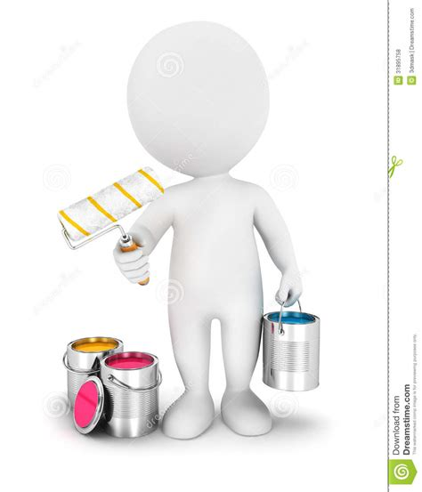 House Plans Craftsman 3d white people with paint roller royalty free stock
