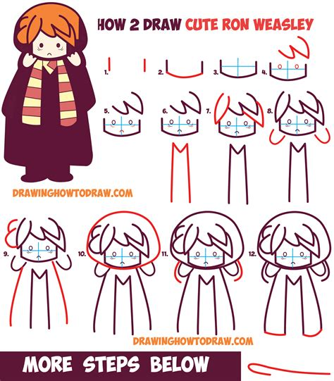 i sew cute and draw how to draw cute ron weasley from harry potter chibi