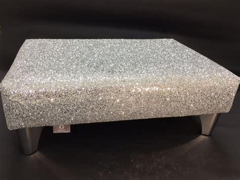 silver sparkle glitter footstool glitter furniture
