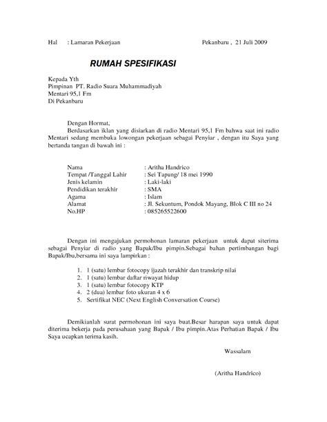 format surat lamaran kerja perusahaan contoh surat lamaran kerja pegawai honorer pemda paling