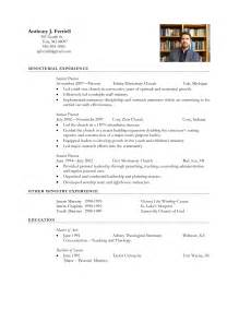minister resume sample free resume templates