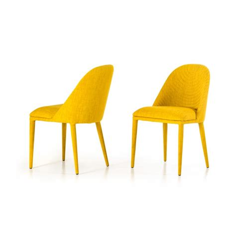 Yellow Modern Chair by Modern Yellow Fabric Dining Chair Set Of 2