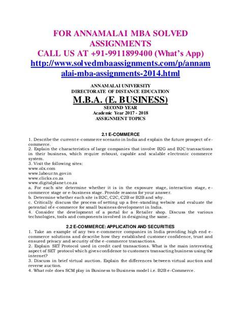 Annamalai Mba Assignment 2017 Answers by Annamalai