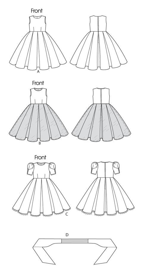 pattern drawing dress butterick 5705 children s girls dress and cummerbund