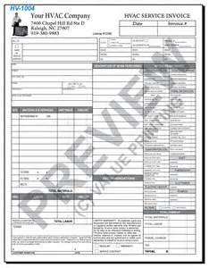 hvac time materials service ticket