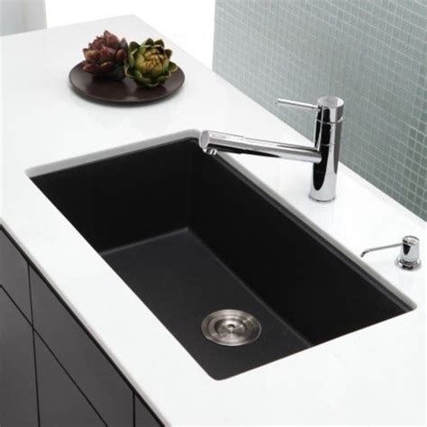 Modern Undermount Kitchen Sinks Kraus 31 Inch Undermount Single Bowl Black Onyx Granite Kitchen Sink Modern Kitchen Sinks