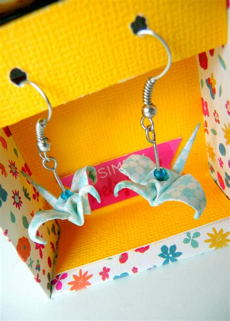 diy boucles d oreilles grues en origami kesi le
