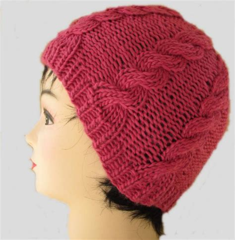 cable knit beanie pattern raspberry cabled beanie by nomagugu24 craftsy