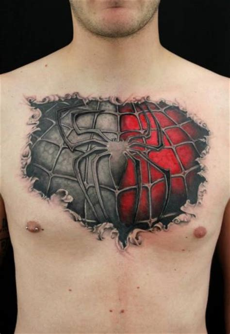 spiderman chest tattoo tattoos designs ideas and meaning tattoos for you