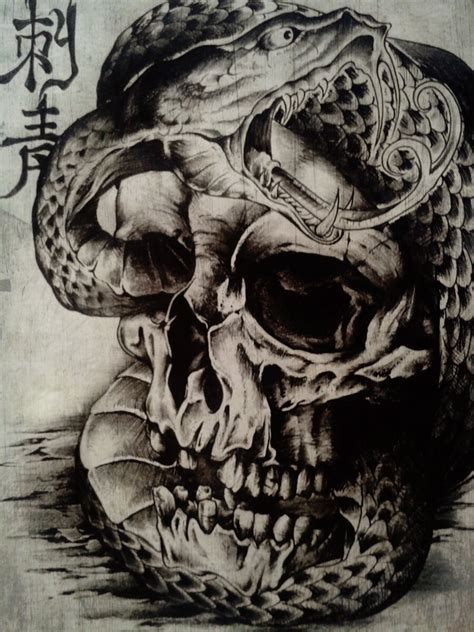 skull snake tattoo stencil pictures to pin on pinterest