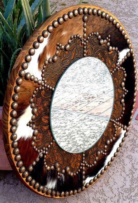 Cowhide Mirror - western style bathroom mirrors fancy western
