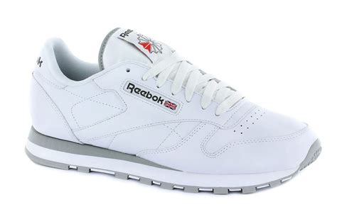 Reebok Classic White by Reebok Classic Leather Mens Trainers White Grey 2214