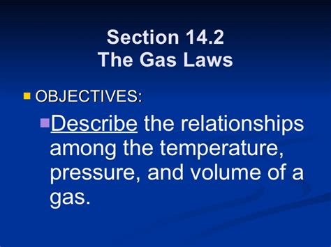 section 3 2 the gas laws chemistry chp 14 the behavior of gases powerpoint