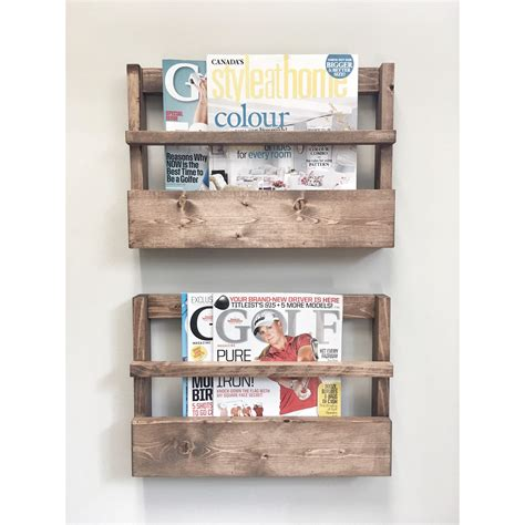 rustic wood magazine holder magazine storage rack wall